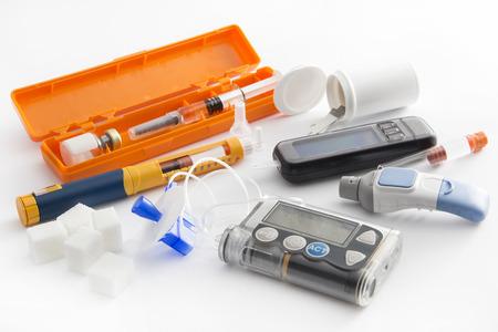 Diabetic items set all you need to control diabetes Stock Photo