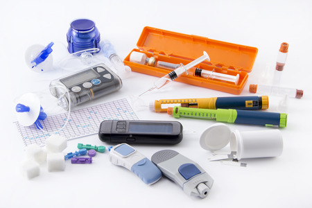 Diabetic items set all you need to control diabetes Foto de archivo