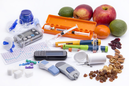 diabetes syringe: Diabetic items set all you need to control diabetes Stock Photo