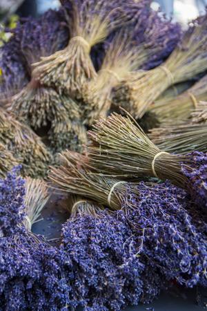 dried flower arrangement: Lavender Bouquet Pile at market place France Provence