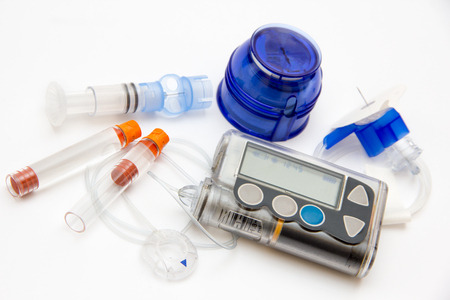 糖尿病のインスリン持続皮下インスリン注入ポンプの制御についての教育 写真素材