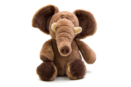Brown elephant soft toy isolated on white Stock Photo