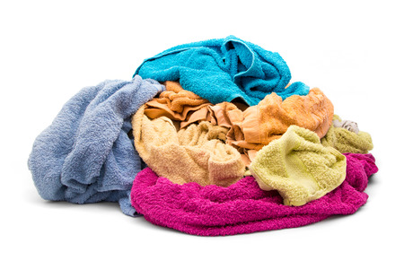 Pile of wet dirty clothes - towels Stock Photo