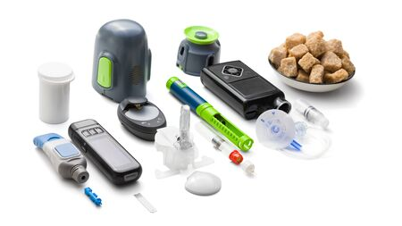 Education about equipment you need to control diabetes: insulin pump, glucose meter, insulin pen, sugar (for low blood sugar), counting carbohydrates, blood glucose sensor (for continuous monitoring) Stock fotó