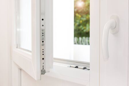 Secure anti-theft burglars-proof window locking mechanism – strong modern white PVC metal window