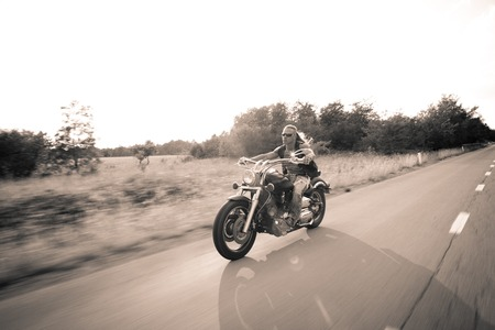 Countryside Rider Enjoying Low Motion  photo