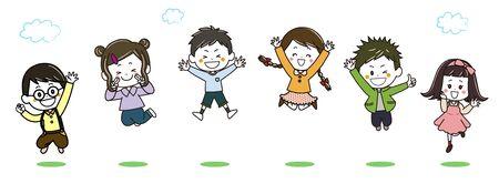 Children Jumping Illustration