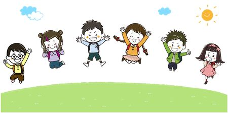 This is the illustration that the children who carried a school satchel on their back jump lively outdoors