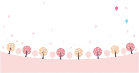 This is an illustration of the promenade of the cherry tree 向量圖像