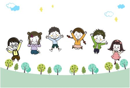 This is an illustration of children jumping in a green promenade Ilustração