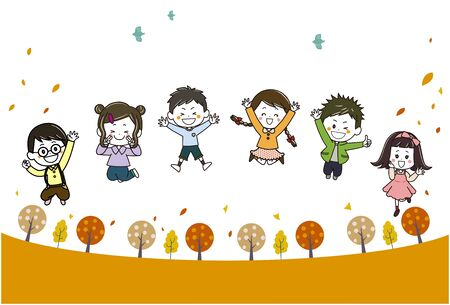 This is an illustration of children jumping in an autumn promenade Vettoriali