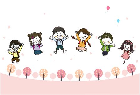 This is an illustration of children jumping in a spring promenade