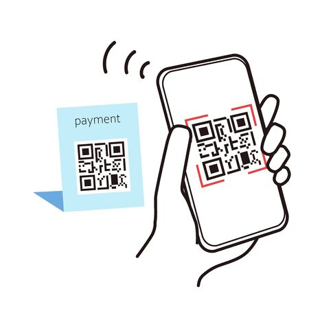 This is an illustration reading QR code to settle cashless.