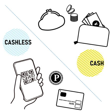 This is an illustration comparing the cashless with cash.