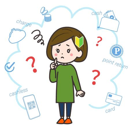 This is the illustration which featured the theme of cashless with the woman of the beginner.
