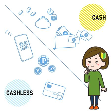 This is the illustration which the woman of the beginner hesitates about whether it is cash or cashless.