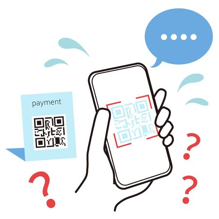This is an illustration showing how your smartphone is in trouble when reading the QR code. Vector image.  イラスト・ベクター素材