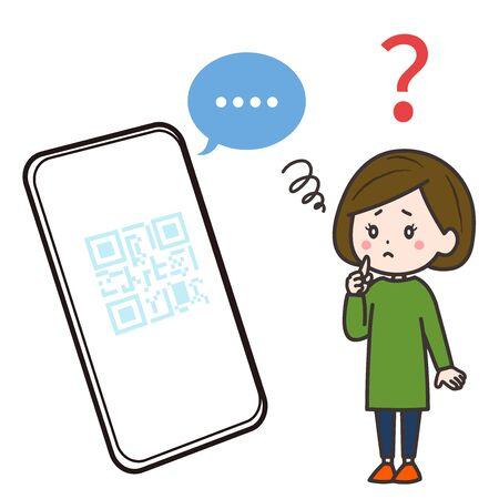 This is an illustration of a smartphone that became unresponsive at the time of QR code settlement and a woman in need. Vector image. Illustration