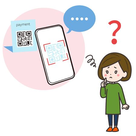This is an illustration of a smartphone that became unresponsive when reading the QR code, and a woman in need. Vector image.
