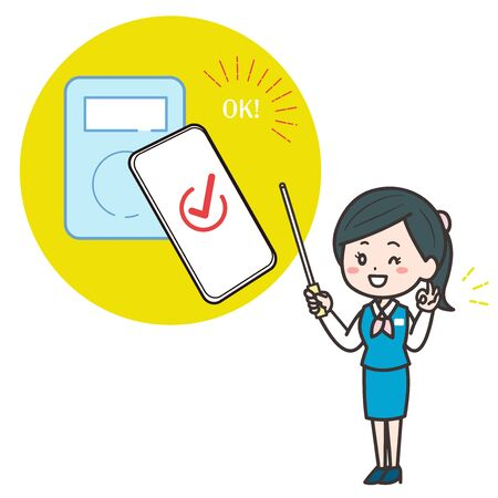 This is an illustration of a female clerk explaining mobile payment. Vector image.