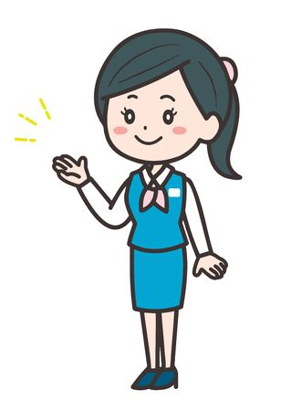 This is an illustration of a business woman to guide. Vector image. Vetores