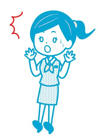 This is an an illustration of a surprise business woman. Vector image.  イラスト・ベクター素材