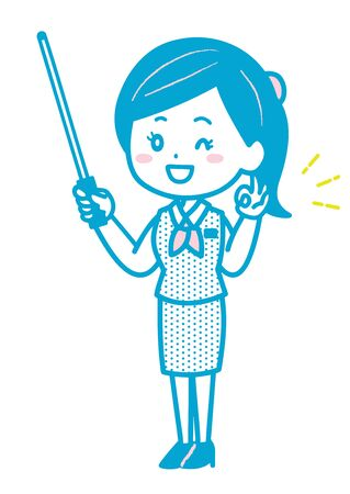This is an illustration of a business woman who has an instruction stick and an OK sign. Vector image.