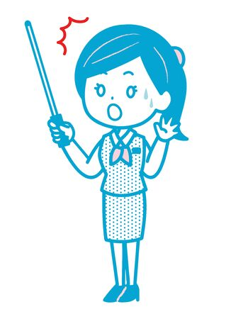 This Is An Illustration of a Surprise Business Woman Who Has An Instruction Stick. Vector image.