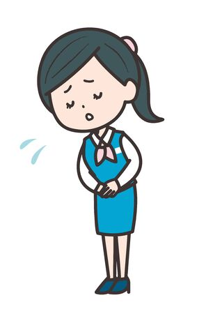 This is an illustration of a business woman who apologizes. Vector image.