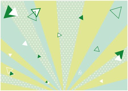 This is a illustration of a green spread background and scattered triangles. Vector image.