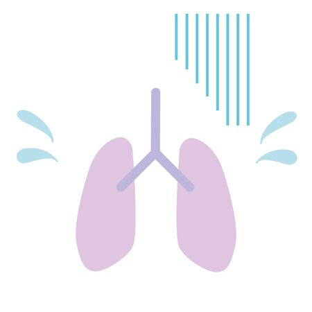 This is an illustration of a lung withno energy. Vector image.