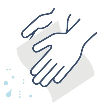 This Is An Illustration of How To Wipe Your Hands with a Hand Towel. Vector image. Ilustración de vector