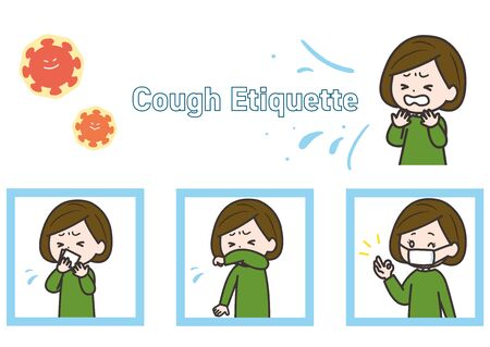 This is an illustration set of cough etiquette. Vector image. Illustration