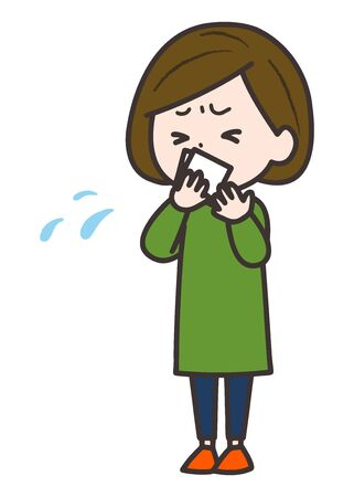 This is an illustration of a woman coughing or sneezing, holding it with a handkerchief. Vector image. Illustration