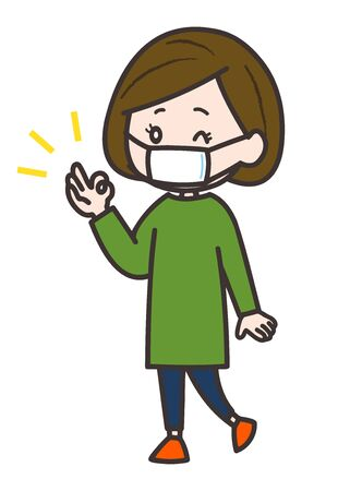 This is an illustration of a woman wearing a mask and signing an OK sign. Vector image. Ilustração