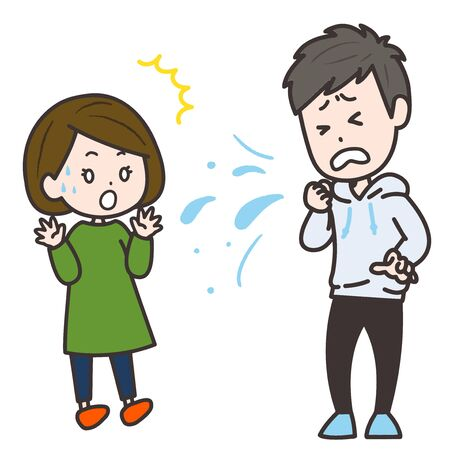 It is an illustration of a woman who is surprised by a sudden cough. Vector image. Illustration