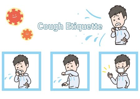This is an illustration set of cough etiquette. Vector image. Иллюстрация