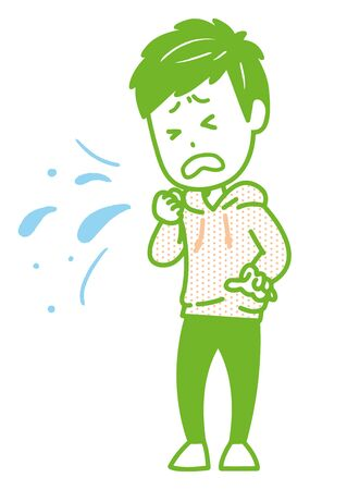 This is an illustration of a man coughing or sneezing. Vector image.