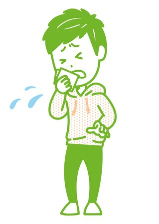 This is an illustration of a man holding a cough or sneeze with a handkerchief. Vector image.