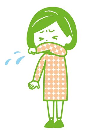 This is an illustration of a woman coughing or sneezing while holding her arm. Vector image. Illustration