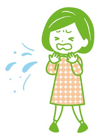 This is an illustration of a woman coughing or sneezing without holding her down. Vector image. Illustration