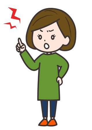 This is an illustration of a woman complaining angrily. Vector image.