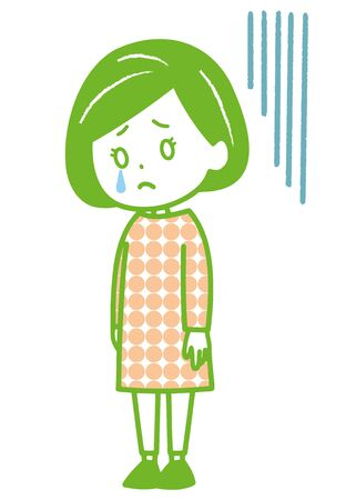 This is an illustration of a depressed woman. Vector image.