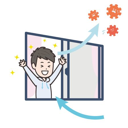 It is an illustration that a man is ventilated in the room and is driving out the virus. Vector image. Ilustrace