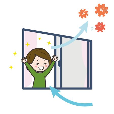 It is an illustration that the woman ventilates the room, and is kicking out the virus. Vector image.