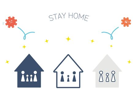 It is an illustration showing how the home waiting protects oneself from coronavirus. Vector image.