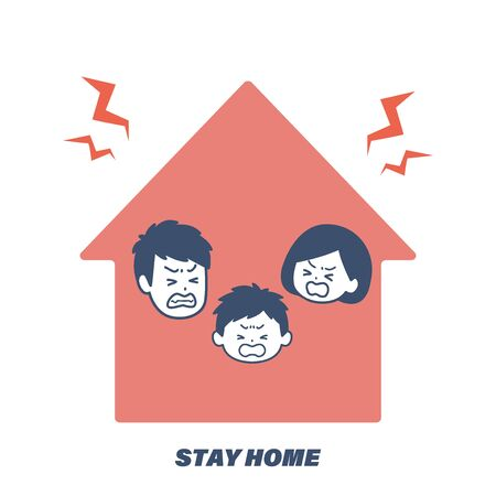 It is an illustration that cannot go out and the family is irritated with each other. Vector image. Illustration