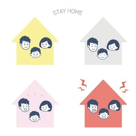 It is an illustration set that the family is at home. Vector image.  イラスト・ベクター素材