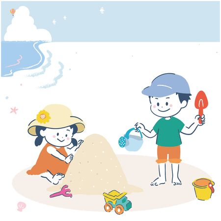 It is an illustration of a girl and a boy playing with sand on the sand. Vector image.