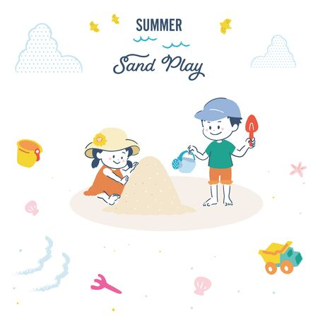 It is an illustration set of the girl and the boy who play with sand. Vector image. Vectores